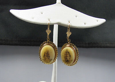 14K Yellow Gold Carved Ships Dangle Earrings Signed 699-1425