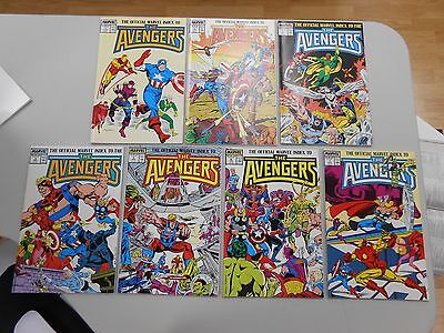 The Official Marvel Index to the Avengers! #'s 1-7! All VF 8.5 +! copper age!