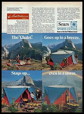 1972 Sears Ted Williams Chalet Tent Glacier Point Yosemite Vintage PRINT AD