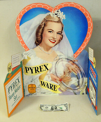 Antique 1940s vtg PYREX Glass Wedding Gift SIGN Art Deco Kitchen Store Display