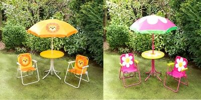 Childrens Garden Furniture Patio Set Kids Table Chairs Parasol