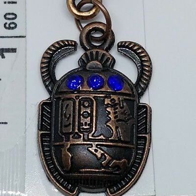 ☽✪☾ Egyptian Scarab Beetle With Blue Gems Bronze Tone Pendant Leather Necklace