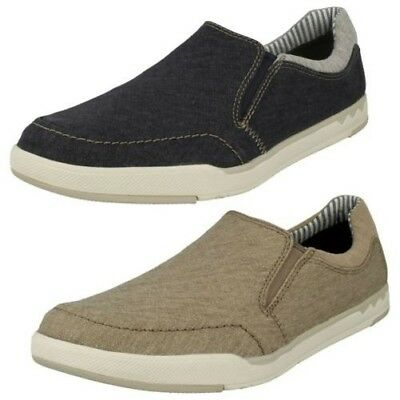 Mens Clarks Ripton Free Olive Or Blue Lightweight Canvas