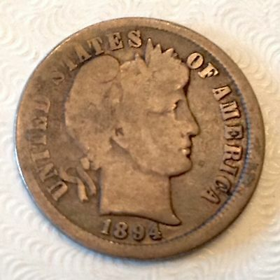 1894 US Barber Dime Ten 10 Cents