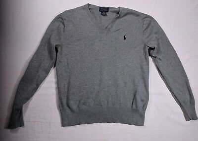 Polo Ralph Lauren Heather Grey Cotton Sweater with Elbow Patches Size M (10-12)