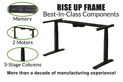 Electric Height Adjustable Standing Office Stand Desk Frame Dual Motors Memory