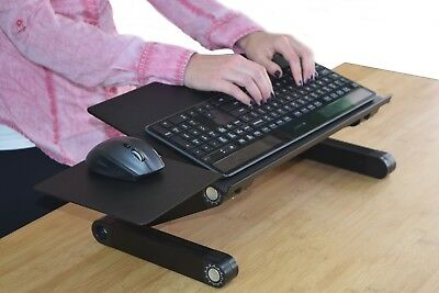 Adjustable Height Tilt Angle Sit Stand Up Computer Keyboard Riser Tray On Desk
