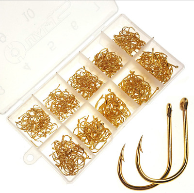 500pcs #3-#12 Assorted Gold Sharpened Fishing Hooks Lures Baits With Tackle Box