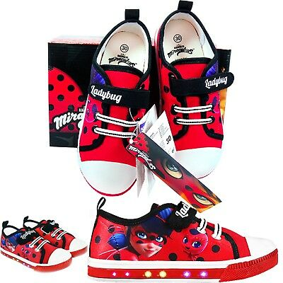 Ladybug Shoes Miraculous Flashing LEDs In Sole Canvas Shoes Licensed Product