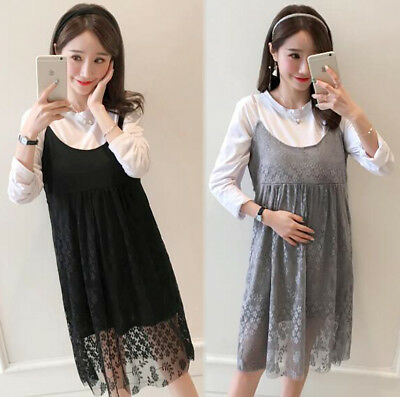 25f7b831ca04d Spring Maternity Clothes Pregnancy Long Sleeve Nursing Tops Strap Lace  Dress Set