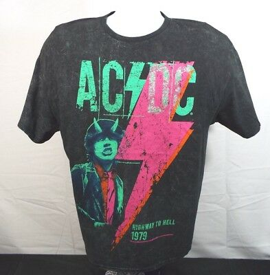 Vintage AC/DC HIGHWAY TO HELL Tee Shirts Tour Graphic Logo Retro 1979 Black XL