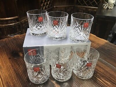RCR Crystal Melodia DOF Whiskey / Scotch Tumbler Glasses - Box Of 6 Glasses