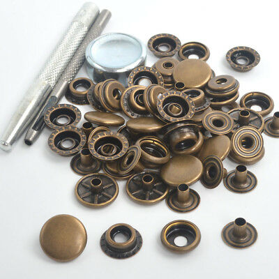 Antique Brass 15 Sets 15mm Press Studs Kit Snap Fasteners Sewing Leather Buttons