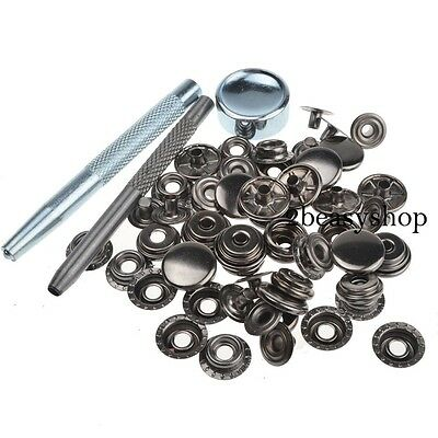 15mm 15 Sets Gunmetal Black Press Studs Kit Snap Fasteners Sewing Leather Button