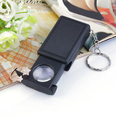 Mini Illuminated 45X Jewelers Loupe Magnifier Magnifying Glass with LED Light HY