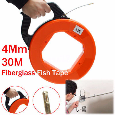 Fiberglass Fish Tape Reel Puller Conduit Ducting Rodder Pulling Wire Cable