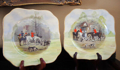 "2 ROSENTHAL Bavaria Ivory Square 8"" Plates~Horse Fox Hunt Scene~Signed EXCELLENT"