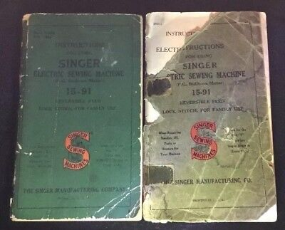 LOT 2 VTG 1930s /1950s  15-91 SINGER SEWING MACHINE MANUALS INSTRUCTION BOOKLETS