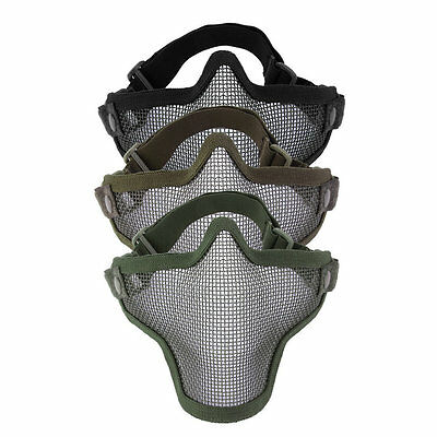 Steel Mesh Half Face Mask Guard Protect For Paintball Airsoft Game Hunting BU