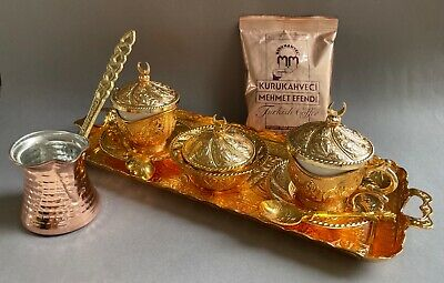 Traditional Luxury Turkish Tea Glasses Set with Holder Handle Saucers  & Tray