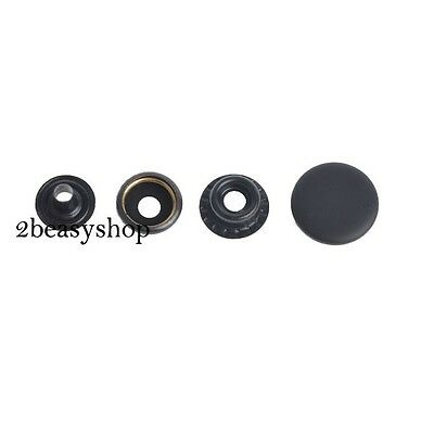 Black Snap Fasteners Press Studs Kit Sewing Craft Buttons 12.5/15/17mm 15 Sets