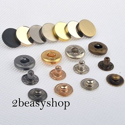 12.5/15mm x15 Black/Silver/Gold/Brass Flat Press Studs Snaps Fasteners Buttons