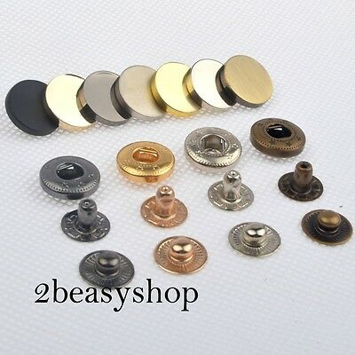 Black Silver Gold 15 Sets 12.5/15mm Press Studs Snap Fasteners Sewing Buttons AU