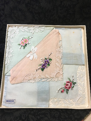 Vintage Lace and Embroidered Handkerchiefs BOXED SET Made in Switzerland 1960's