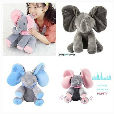 Peek-a-boo Singing Elephant Teddy Plush Toy Stuffed Music Animated Kid Xmas Gift