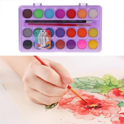 21 Colors Solid Watercolor Cake Painting Box with Water Brush Pens Pencil Set