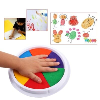 6 Colors DIY Ink Pad Stamp Finger Painting Cardmaking Large Round Craft For Kids