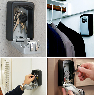 4-Digit Code Lock Safe Storage Key Home High Security Wall Installed Safe Device