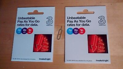 TWO x PAY AS YOU GO THREE 3 NETWORK PAYG 3G TRIO WITH 321 PLAN + SIM EJECTOR PIN