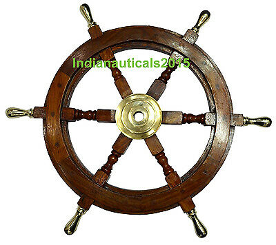 "Vintage Style 18"" Brass & Wood Ship Wheel Nautical Home Decor Steering Boat"
