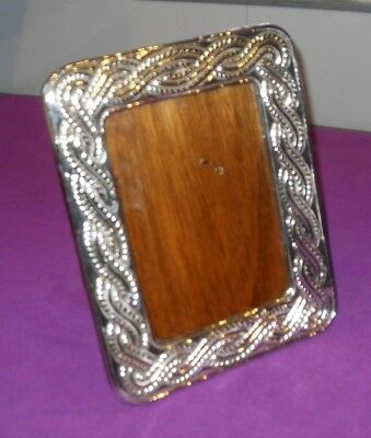 "Large Size 10"" Antique Peruvian Sterling Silver Embossed Photo Picture Frame"