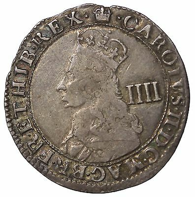 England Charles II 1660-1685 AR Silver Fourpence Hammered Coin S.3324
