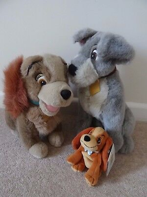 disney lady and the tramp soft toys 11.5 and 14 inch large size and one small