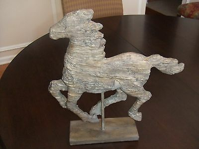 """Horse Sculpture Galloping on Stand 14.5"""" X 13.5"""" with the look of driftwood"""