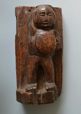 Unusual Old Tribal wood carving fragment 18th century medieval