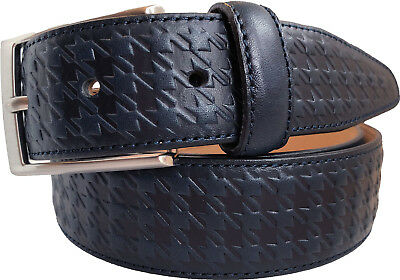 Real Italian Leather Belt Blue Hounds Tooth Embossed S M L Xl Xxl 35Mm