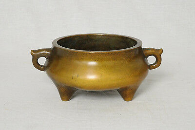 Chinese  Tripod  Bronze  Incense  Burner  With   Mark      M2682