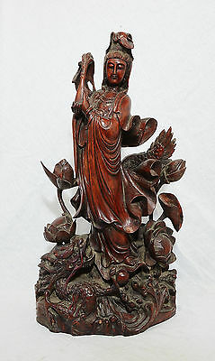Well  Hand  Carved  Chinese  Rose  Wood  Statue  Of  Kwan-Yin