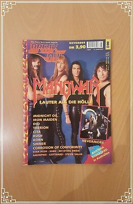 BREAK OUT November Nr. 8/1996 Manowar Corrosion of Conformity DIO Iron Maiden Mi