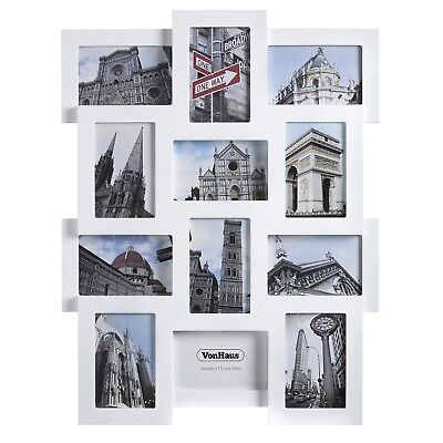 DECORATIVE COLLAGE PICTURE Frame Set [12 Frames] White Wooden Wall ...