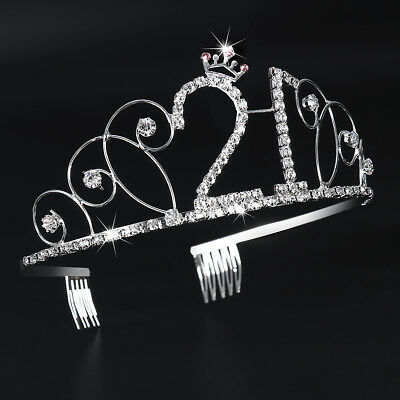 Twenty-One 21 Birthday Party Sweet Rhinestone Crystal Tiara Crown