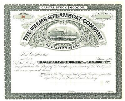 Weems Steamboat Company of Baltimore City. Stock Certificate