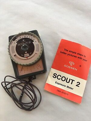 ORIGINAL VINTAGE GOSSEN SCOUT 2 EXPOSURE METER w/ ORIGINAL MANUAL