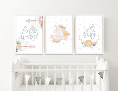 Girls Nursery Prints / Pictures, Unicorn, Hello World, Oh Baby, Girls Home Decor