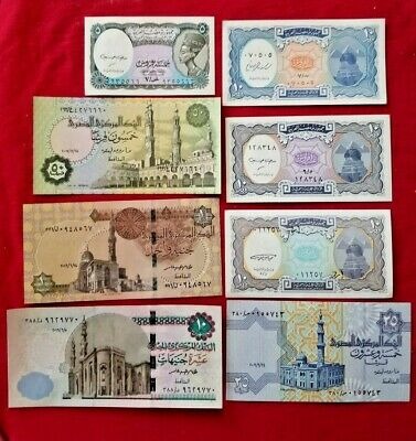 ***egypt 8 Paper Money Rare (Unc) Egyptian Notes Collectian Set***