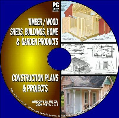 1000+ Sheds/Cabins/Wooden Buildings Plans Timber Home/Garden Blueprints Pccd Rom
